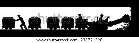 Working miners - stock vector