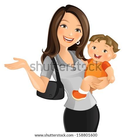 Working Mom - stock vector
