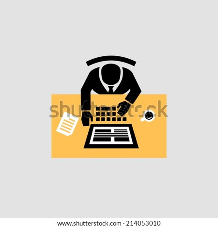 Working on computer - stock vector
