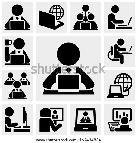 Working on computer vector icons set on gray  - stock vector
