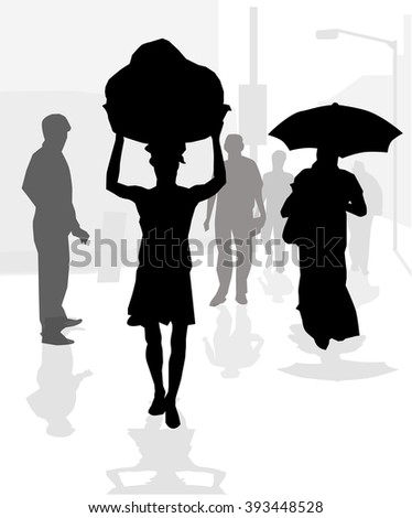 Working People at Morning Street - Vector