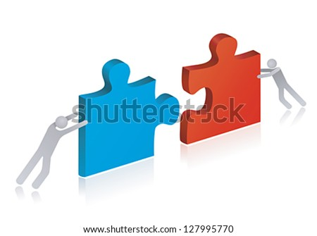 Working people building puzzle. Concept of teamwork and success.  - stock vector