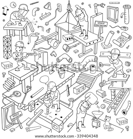 "Working People Cover Pattern. Funny Building Area. Background for ""Under Construction"" Theme. Black and White Doodles Vector Illustration - stock vector"
