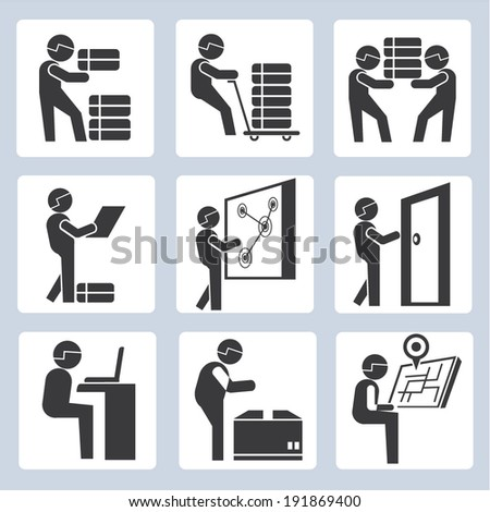 working people icons set, industrial worker icons