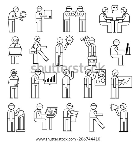 working people in office situations, business people icons, line theme - stock vector