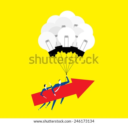 Working together,creating ideas make us grow up. - stock vector
