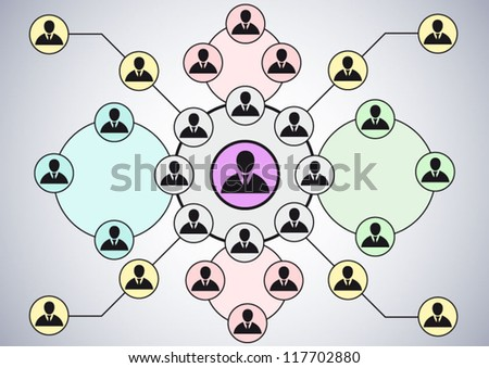 Working together team concept hierarchy - stock vector