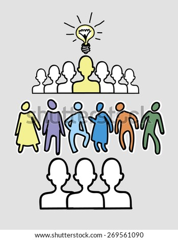 Working together team concept. Leadership and underachievers concept. Vector illustration version. - stock vector