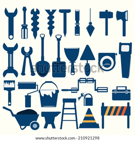 Working tools blue icon - stock vector