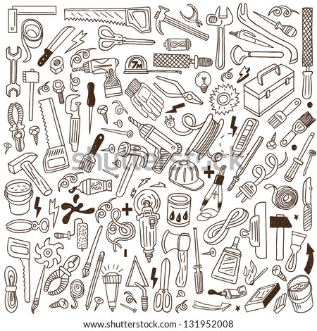 working tools - doodles collection - stock vector