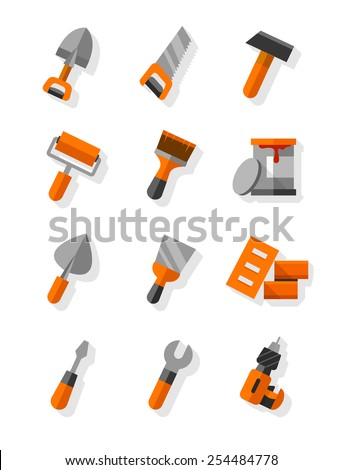 Working tools for construction and maintenance flat icons set. Eps10 vector illustration. Isolated on white background - stock vector