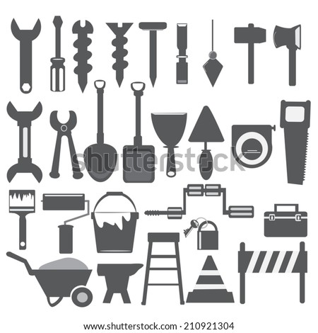 Working tools grey icon - stock vector