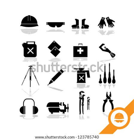 Working tools icon set  2 - stock vector