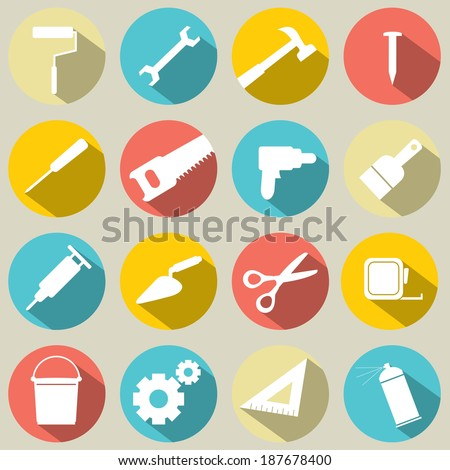 Working Tools Icons Set 16 - stock vector