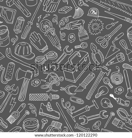 working tools - seamless background - stock vector