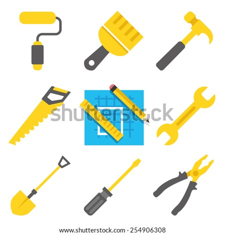 Working tools vector icons set. Blue, black and yellow colors. Creative flat style design illustrations. Isolated on white background. - stock vector
