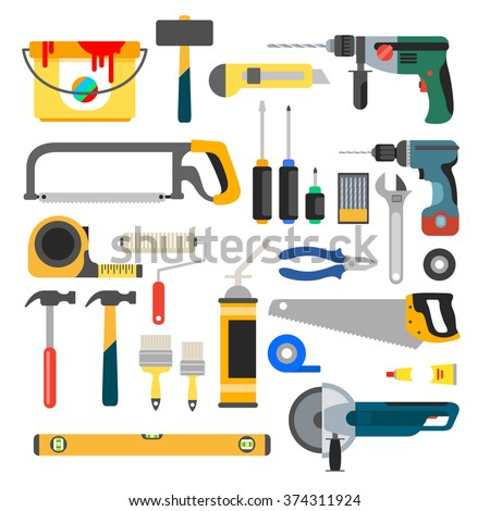 Working tools vector set. Tools for repair and construction. Hand drill, saw, level, hammer, screwdriver and other construction tools. Home repair flat vector icons. - stock vector