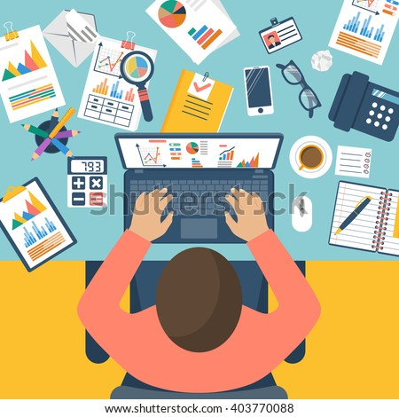 Working with financial papers. Accounting concept. Organization process, analytics, research, planning, report, market analysis. Flat style vector. Man at table with documents. - stock vector