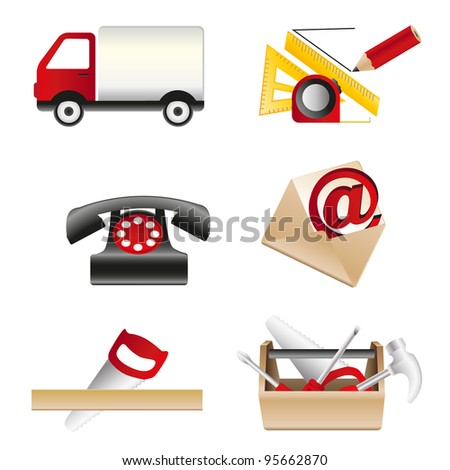 working with icons for web - stock vector