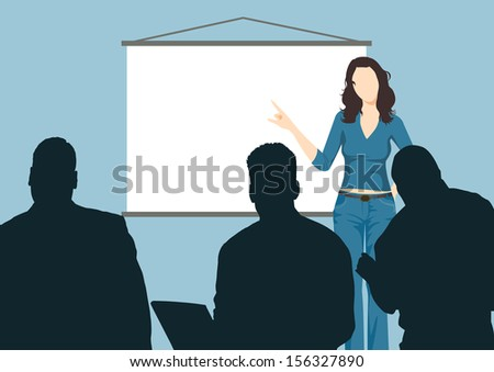 Working woman with presentation board. Illustration of working woman with presentation board. Working woman results through the board at the meeting. - stock vector