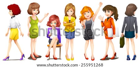 Working women on a white background - stock vector