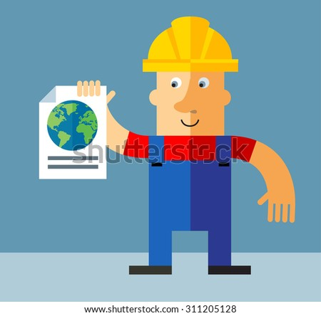 Workman Global search.  Flat style vector illustration - stock vector