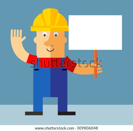 Workman  holding a blank sign. Flat style vector illustration