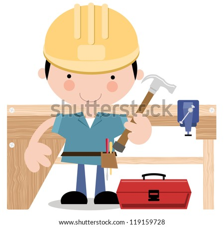 Workman holding a hammer  with wooden workbench in background. - stock vector