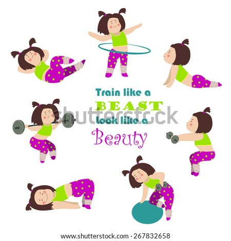 Workout fitness cute girls. Vector isolated illustration - stock vector