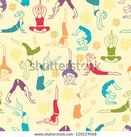 Workout fitness girls seamless pattern background - stock vector