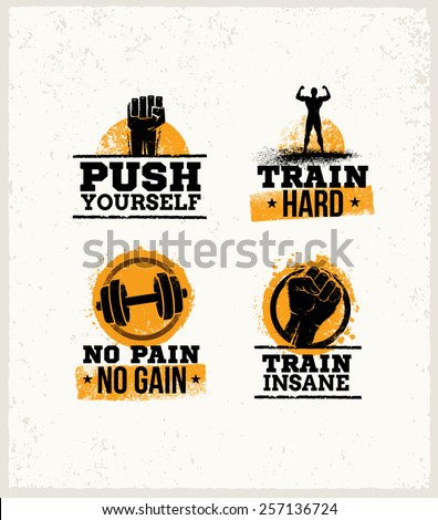 Workout Gym Sport and Fitness Motivation Vector Design Elements on Grunge Background - stock vector
