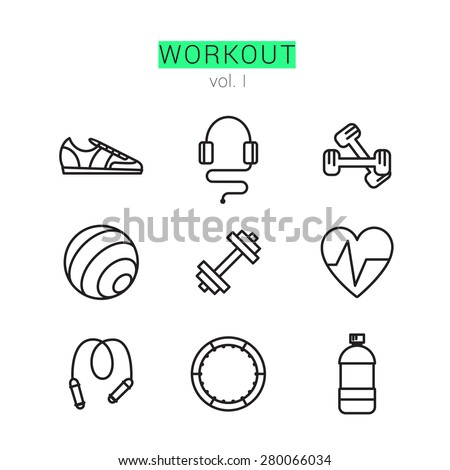 Workout Icons Set for Web and applications - stock vector