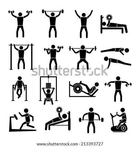 Workout sport and fitness gym training icons black set isolated vector illustration