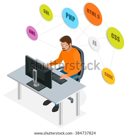 Workplace. Developer Using Laptop Computer. Web Development concept. Web programming concept. Programming, coding, testing, debugging, analyst, code developer flat 3d isometric vector illustration - stock vector
