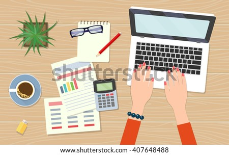Workplace freelancer economist. Laptop, documents, calculator, plant, notebook on a wooden desk background. View from above.Vector flat illustration - stock vector