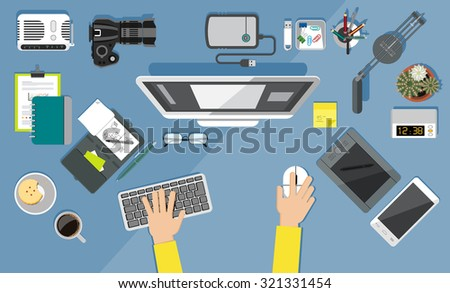 Workplace from top view. Set of office related  items. Office equipment icons.  - stock vector