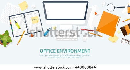 Workplace in Office with Table,Computer,Documents.Paperwork.Workplace Management Solutions.Office Jobs, Employment.Build Your Perfect Workplace.Organize Office Environment for Maximum Productivity. - stock vector