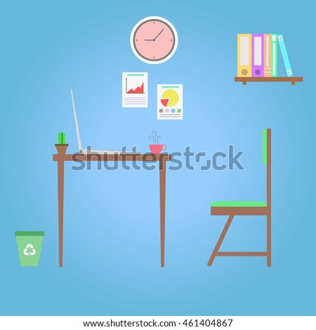 Workplace in room - Vector flat style