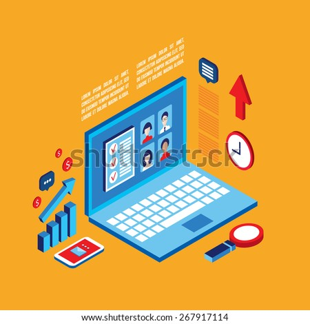 Workplace isometric elements set  Successful business concept - stock vector