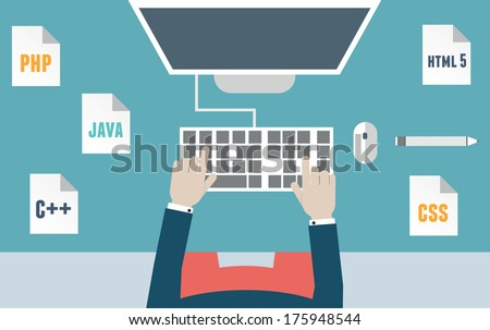 Workplace of programmer and process coding and programming. Workflow and planning. Flat design style - vector illustration - stock vector