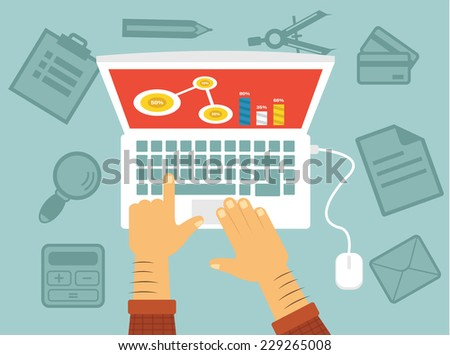 Workplace of programmer. Vector flat illustration - stock vector