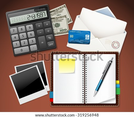 Workplace office and Business work elements set. Envelope, Money, Photos, Credit Card, Calculator, Notebook, Pen. Illustration vector EPS10 - stock vector