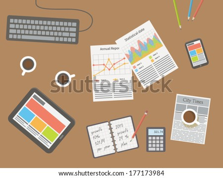 workplace, office desk - stock vector