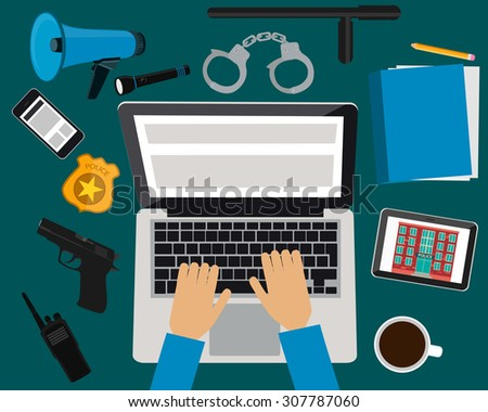 Workplace police. Table with laptop, tablet and mobile phone. Vector illustration - stock vector