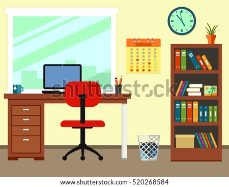 workplace room interior business office or home. modern illustration with furniture for work place room interior.