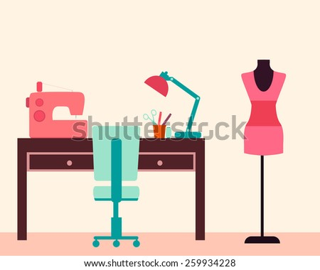 Workplace seamstress. Table and sewing machine. Vector illustration  - stock vector