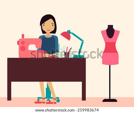 Workplace seamstress. Woman sitting at the table and sewing machine. Vector illustration - stock vector