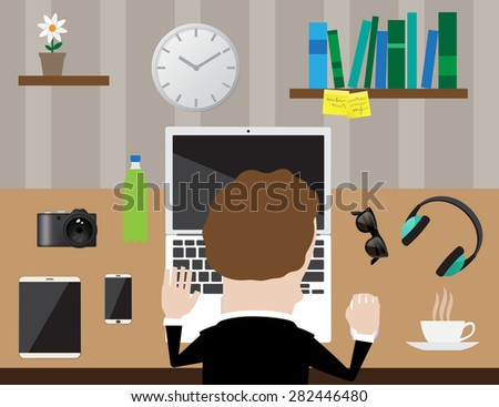 Workplace top concept Flat design Vector illustration. - stock vector