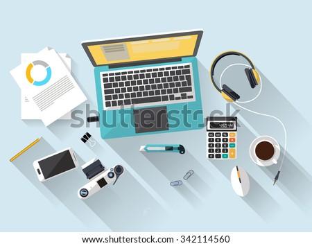 workplace - top view - flat design - laptoop blue - desk - stock vector