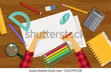Workplace. Vector flat illustration - stock vector